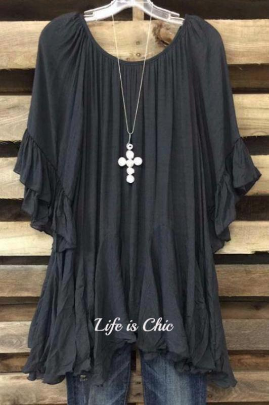 BOHO-HIPPIE  SWING OVERSIZED DRESS DARK GRAY [product vendor] - Life is Chic Boutique