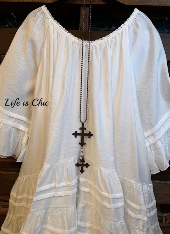 BOHO SWING OVERSIZED DRESS IN WHITE
