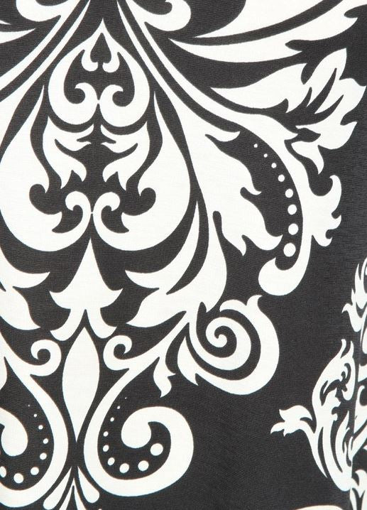 ALWAYS HERE FOR YOU DRESS DAMASK PRINT IN BLACK