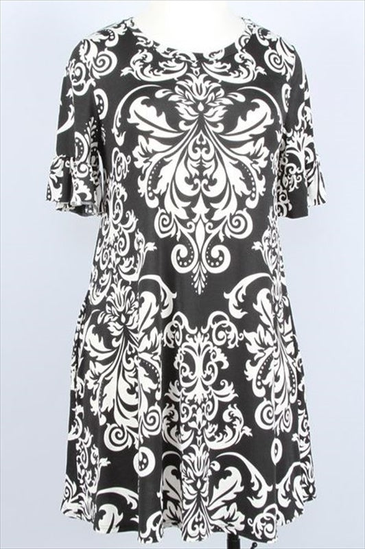 ALWAYS HERE FOR YOU DRESS DAMASK PRINT IN BLACK 14-16------sale