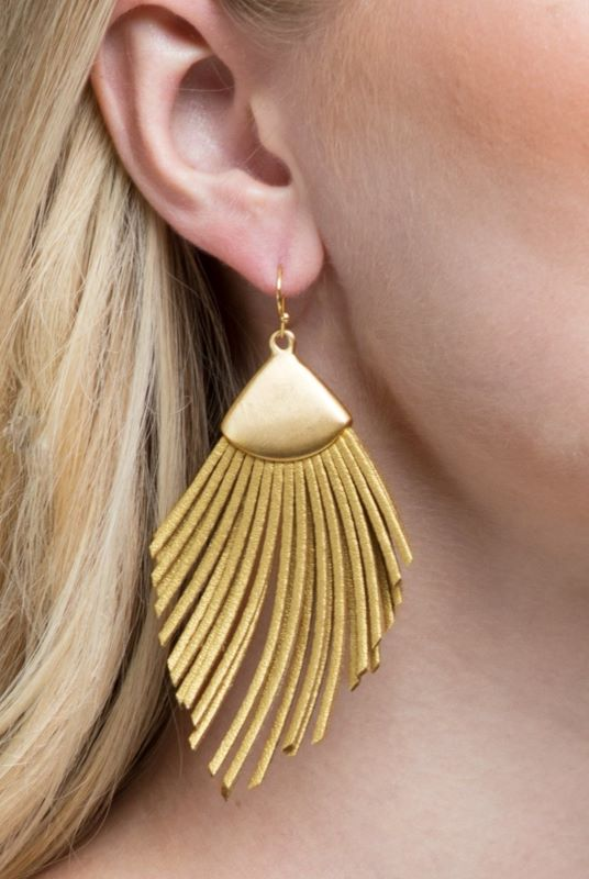 Wild Feather Earrings Mustard