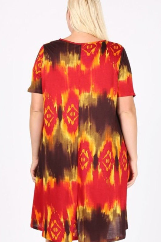 FALL IN LOVE TIE  DYE DRESS IN BROWN & RUST
