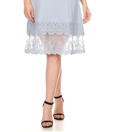 MY DELICATE SOUL LACE LAYERING SLIP DRESS EXTENDER TOP IN BLUE