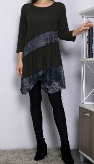 "EVERYDAY BEAUTY ""ONE OF A KIND"" STYLISH LACE TUNIC IN FOREST GREEN"