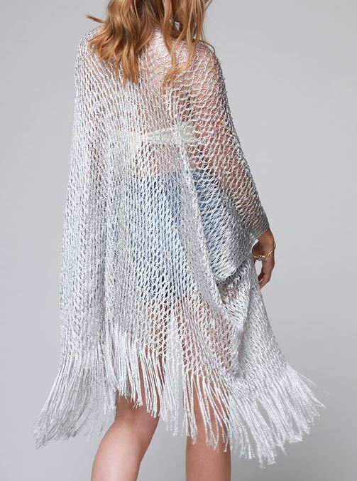 IN ANY EVENT STUNNING NET FRINGE KIMONO IN SILVER