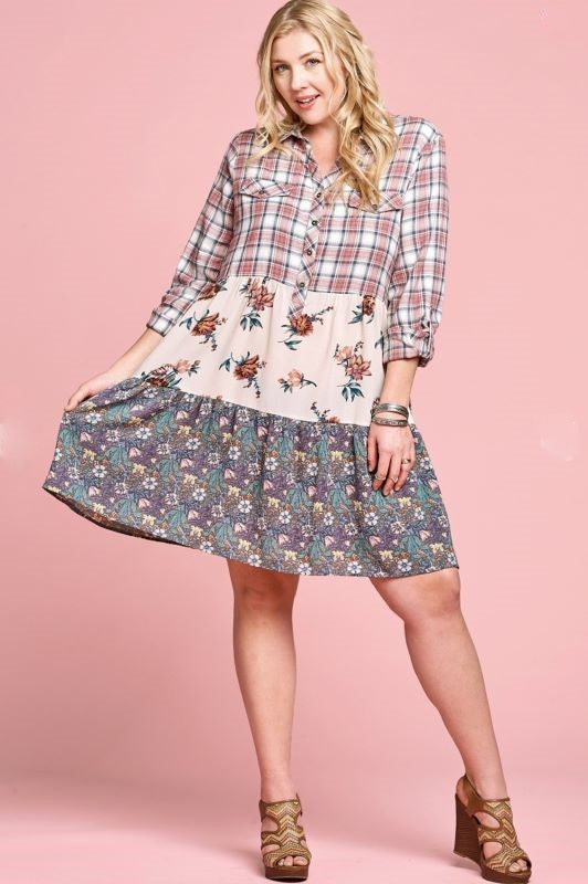 A FRESH START FLORAL & PLAID TIERED DRESS IN DUSTY PINK & MULTI ----------sale