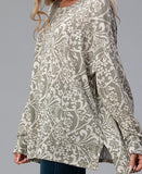 You Are My Forever Love Oversized T-Tunic in Sage Damask Print