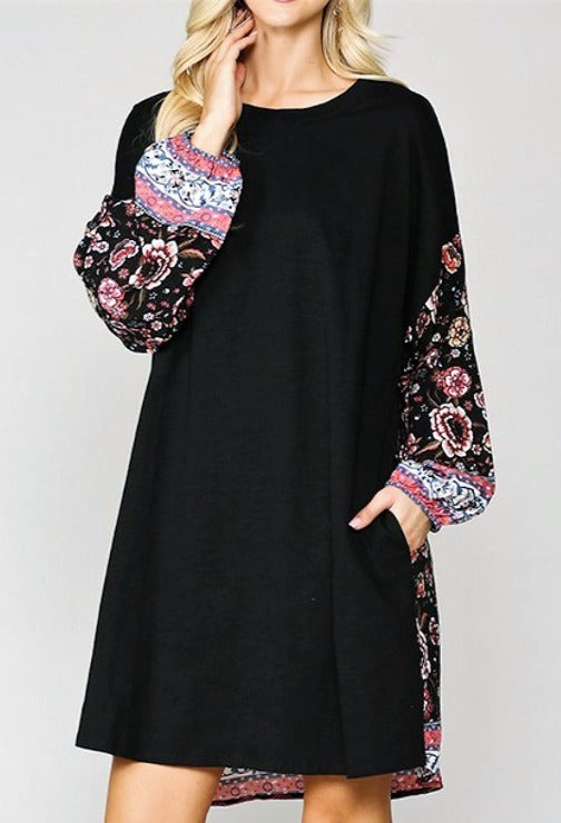 DOWNTOWN EASY LOOK OVERSIZED 100% COTTON DRESS IN BLACK