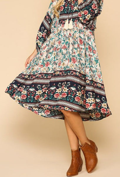 Bohemian Heart & Soul Floral Oversized Dress in Cream & Multi