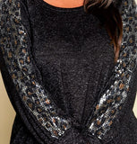 HACCI METALLIC SEQUIN IN BLACK-----------sale