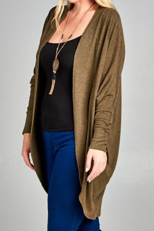 LET'S COZY UP SOFT HACCI OVERSIZED CARDIGAN - OLIVE