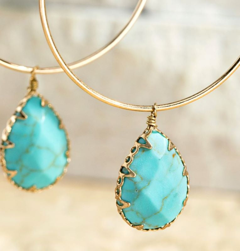 Natural Stone Tear Drop Hoop Earrings Turquoise