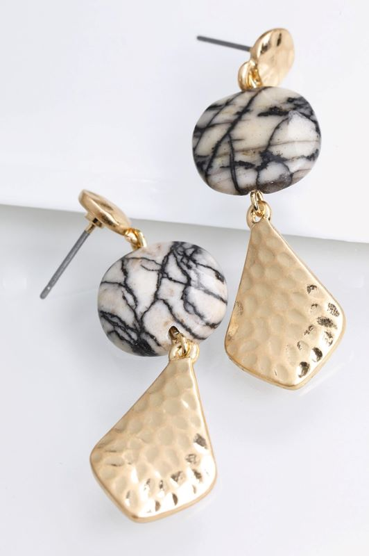 BLACK LACE NATURAL STONE CHARM EARRINGS