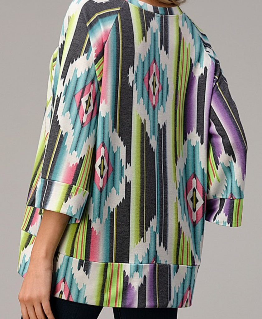 COUNTRY BEAUTY T-TUNIC OVERSIZED IN MULTI-COLOR