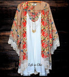 Sweet Darlin' Crochet Floral Kimono in Multi-Color