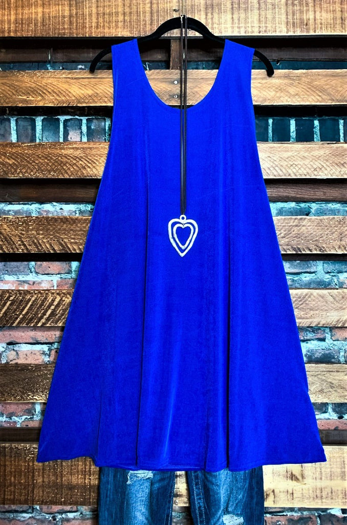 WHEREVER YOU GO DRESS TUNIC IN ROYAL BLUE