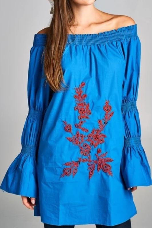 GO GIRL STYLISH BOHO EMBROIDERED DRESS IN BLUE-------sale