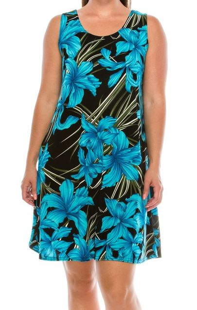 FAB FLORAL DRESS IN TURQUOISE 2X-3X