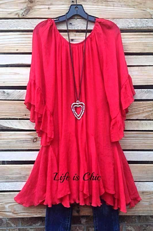 BOHO-GYPSY HIPPIE SWING OVERSIZED DRESS IN RED-CORAL [product vendor] - Life is Chic Boutique