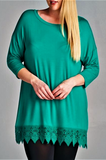 WHEREVER YOU GO LACE PRETTY T-SHIRT TUNIC IN KELLY GREEN