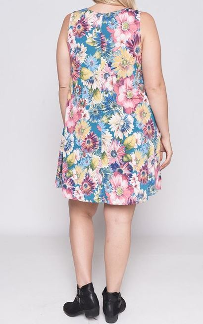 NATURALLY LOVELY FLORAL DRESS IN TEAL & BLUSH MIX