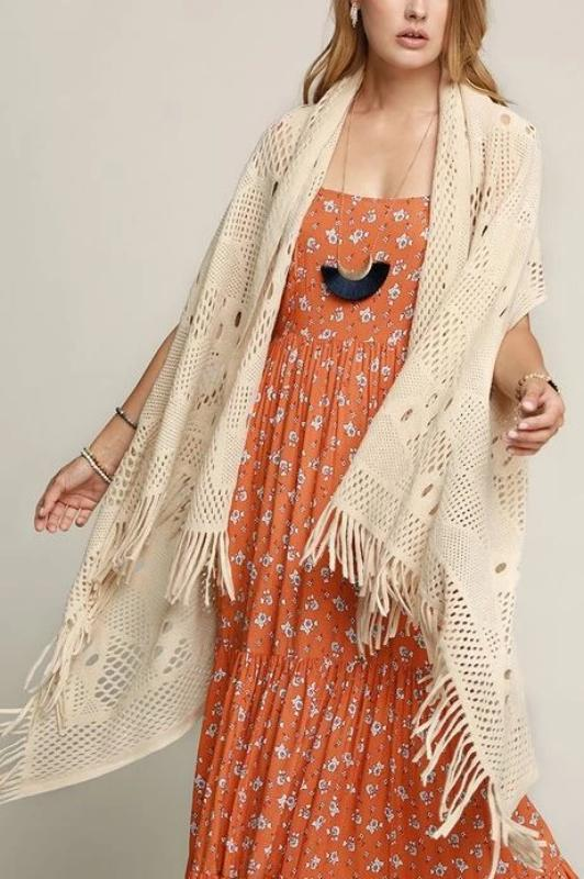 COZY CHARM TO GO IN STYLE FRINGE KNIT CARDIGAN VEST IN BEIGE