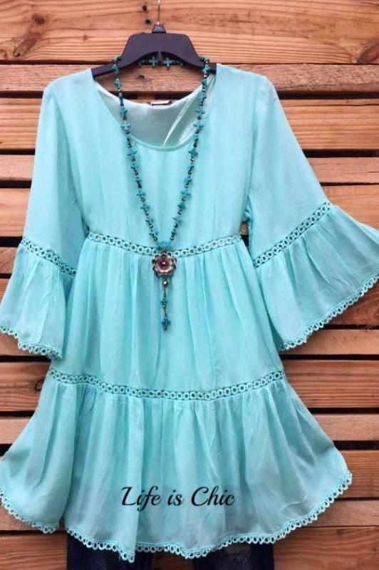 ALL THE PRETTY THINGS LACE TRIM DRESS IN MINT [product vendor] - Life is Chic Boutique