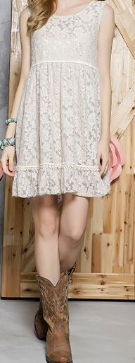RECORD BEAUTY LACE DRESS IN TAUPE