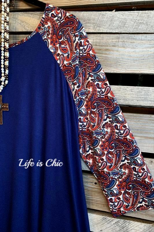 LUCKY TO HAVE YOU IN MY LIFE DRESS IN NAVY & PAISLEYS--------sale