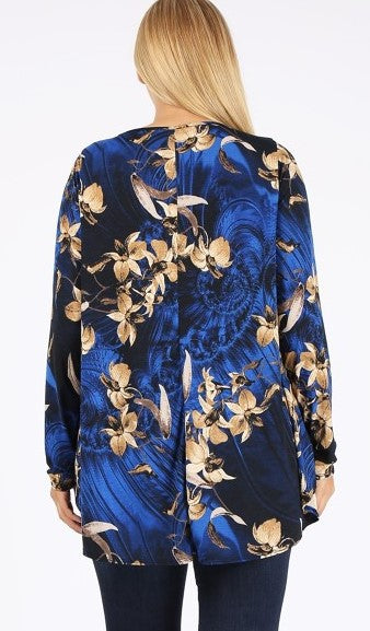 CELEBRATE THE MOMENT PRETTY FLORAL  SWEATER TUNIC IN ROYAL BLUE 3X 4X 5X