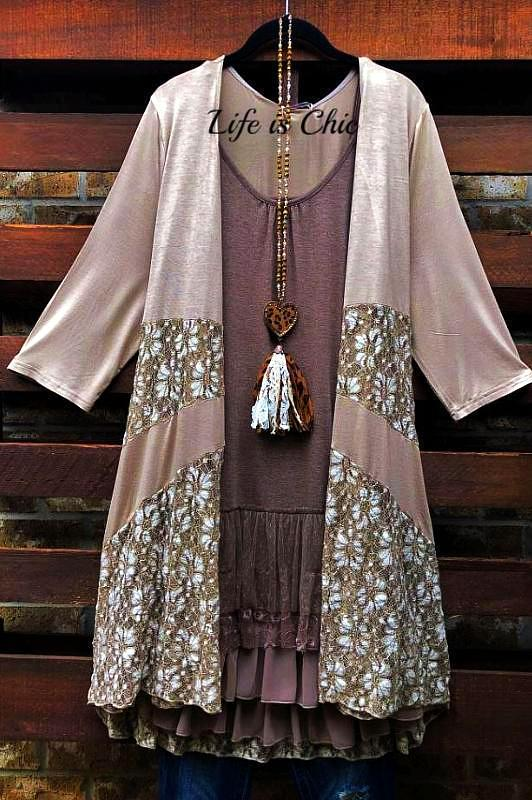 DAYS GONE BY LACE LIGHTWEIGHT CARDIGAN IN TAUPE