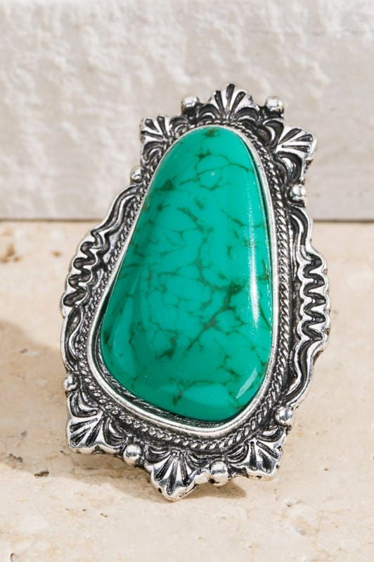 THE BLUEGRASS TURQUOISE WESTERN NATURAL STONE RING