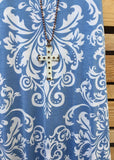 Always Here For You Dress Blue Damask [product vendor] - Life is Chic Boutique