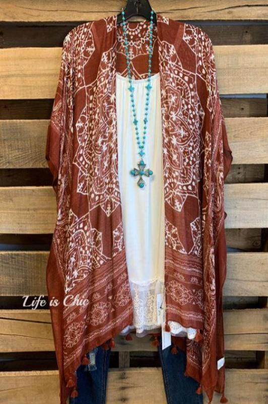 SWEET SOUL BALI EMBROIDERED KIMONO IN BURNT ORANGE