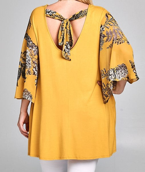 UNDER THE TUSCAN SUN CHIFFON BELL SLEEVE TUNIC IN PLUS SIZE