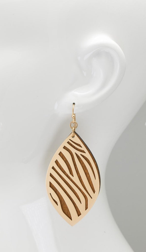 Autumn Leaves metal & Wood Fish Earrings