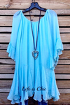 BOHO HIPPIE SWING OVERSIZED TUNIC IN BLUE SKY [product vendor] - Life is Chic Boutique