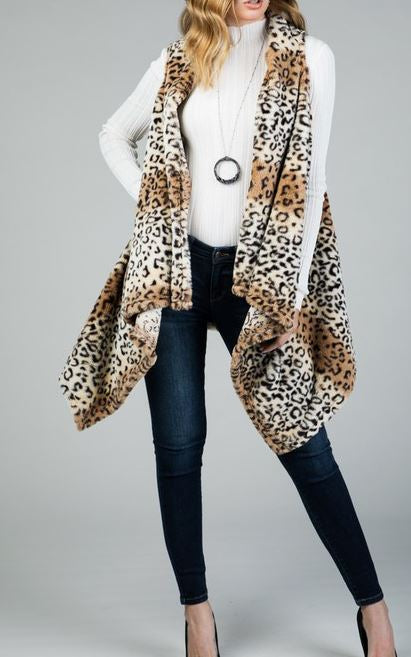 GO OUT IN STYLE COLD WEATHER ANIMAL PRINT VEST FAUX FUR ------------sale