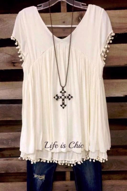 BY THE LIGHT OF THE MOON TUNIC - OFF WHITE [product vendor] - Life is Chic Boutique
