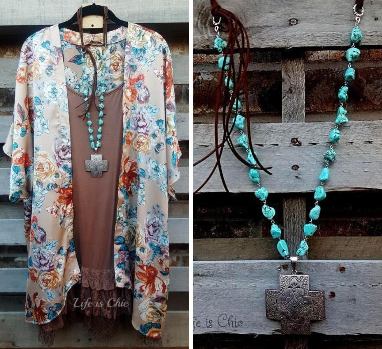WIND RIVER CROSS & TURQUOISE BEADS NECKLACE [product vendor] - Life is Chic Boutique