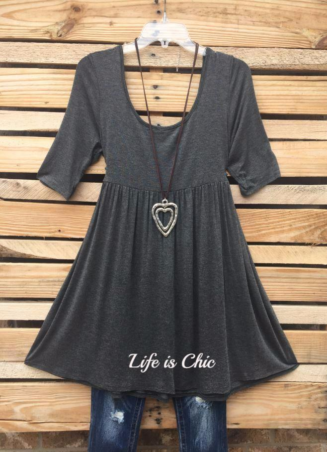 ALWAYS BE  MINE MINI DRESS/ TUNIC - CHARCOAL [product vendor] - Life is Chic Boutique