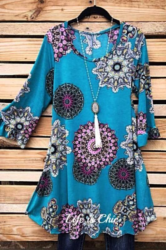 MANDALA MUSE GEO PRINT DRESS - TEAL [product vendor] - Life is Chic Boutique