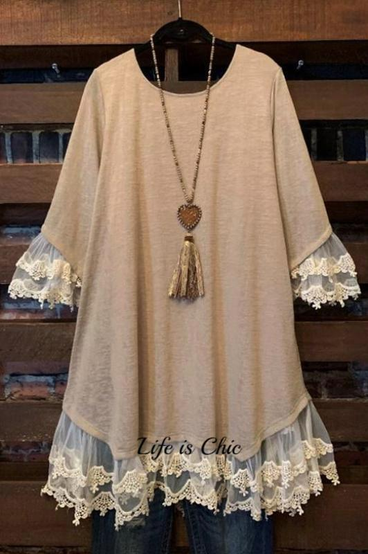 ENCHANT MY DREAMS LACE DRESS IN TAUPE