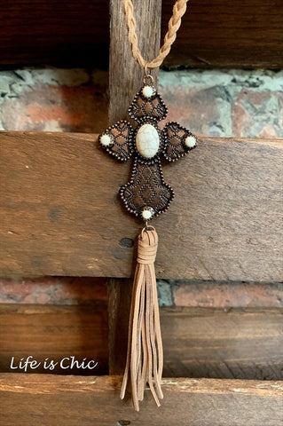 WATERFALL CHAIN TASSEL & GEMSTONE IN VINTAGE GOLD COLOR