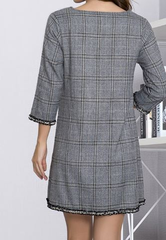 CHECK OUT DESTINATION CASUAL CHIC DRESS IN LIGHT GRAY [product vendor] - Life is Chic Boutique