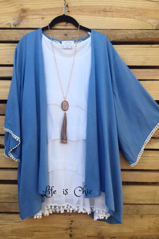 Easy Perfection Kimono In  Light Blue [product vendor] - Life is Chic Boutique