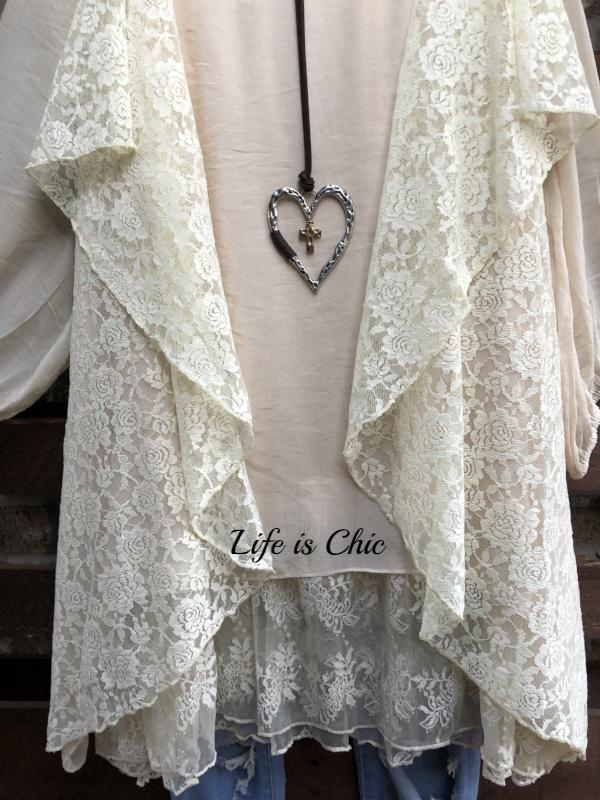 DREAM COME TRUE LACE TUNIC IN BEIGE [product vendor] - Life is Chic Boutique