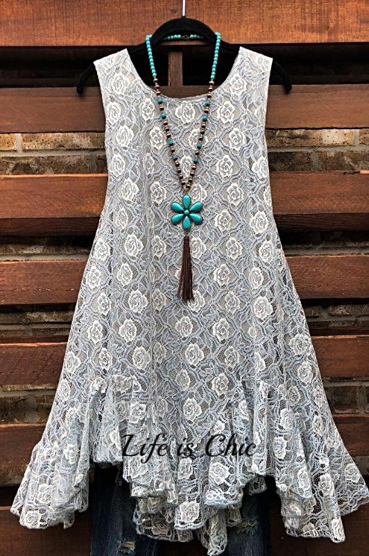 BEAUTIFUL MUSE LACE SLEEVELESS DRESS IN GRAY