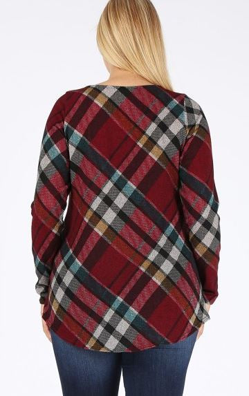 CROSS MY MIND FAB PLAID TOP BLOUSE IN BURGUNDY 1X 2X 3X --------sale
