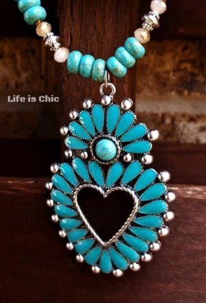 WESTERN NATURAL BEAUTY NECKLACE - TURQUOISE [product vendor] - Life is Chic Boutique